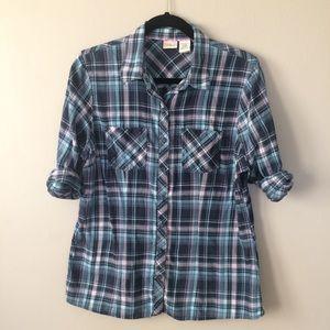 L.L. Bean Convertible Plaid Shirt Blue Purple